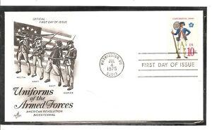 US SC # 1565 Continental Army FDC. Artcraft Cachet.