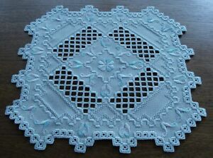 HARDANGER DOILY - extraordinary in color and design - handstitched