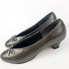 Vintage 1960's Silver Kitten Heel Pumps Shoes Size 9 Alta Vista