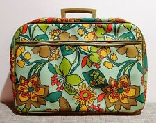 VINTAGE ANTIQUE EAMES ATOMIC GROOVY MOD FLORAL OVERNIGHT TRAVEL SUITCASE 50s OLD