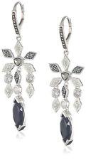 NEW $198 Judith Jack Earrings Frosted Glaze Black Onyx Silver Marcasite Dangle