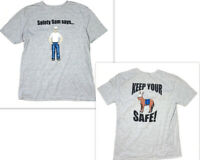 Safety Sam T Shirt Mens L Gray Tee Short Sleeve Work Job Gildan Funny Graphic