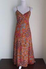 UK 10 JIGSAW Beautiful Sundress Orange Cotton Lined Adjustable Straps  (365)