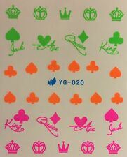 Nail Art Water Decals Neon Card Suites King Queen Ace Jack Crown Spades YB-020