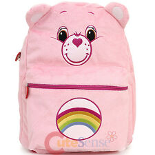 """Care Bears Cheer Bear School Backpack 16"""" Large Pink Plush Bag with Ear"""