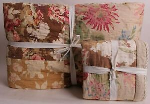 New Pottery Barn Carolina Floral patchwork reversible king quilt & euro sham