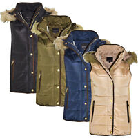 New Womens Gilet Bodywarmer Ladies Coat HOODED FUR PUFFER PADDED QUILTED JACKET