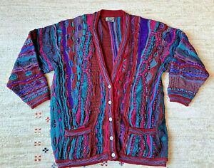 COOGI Australia Cardigan V-Neck Sweater, Button Multi-Colored Pockets, Sz Medium