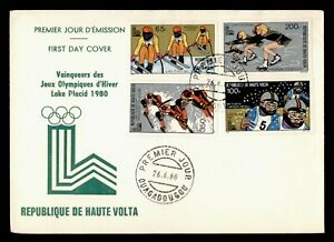DR WHO 1980 UPPER VOLTA FDC LAKE PLACID OLYMPICS CACHET SPORTS COMBO  f61894