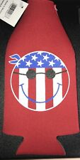 USA Flag Smiley Face  NEOPRENE Bottle COOZIE - Huggie Free Shipping