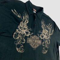 Harley Davidson Black Polo Golf Shirt Double Eagles Warr's London England Sz 2XL