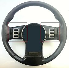 NISSAN NAVARA D40 BLACK CARBON FIBRE STEERING WHEEL SPOKE TRIMS - UNIVERSAL FIT