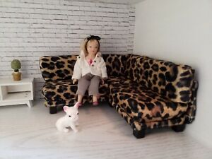 1/12 scale doll house size leopard modern corner sofa for diorama