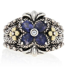 Barbara Bixby Iolite & White Sapphire Ring - Sterling Silver & 18k Gold Size 7