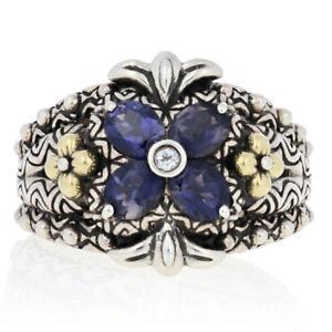 Barbara Bixby Iolite & White Sapphire Ring - Sterling Silver & 18k Gold Size 7