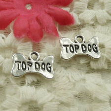 free ship 90 pieces tibetan silver bowknot TOP DOG charms 16x10mm S4869
