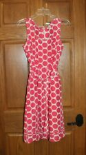 Banana Republic Pink & White Polka Dot Dress sz 8 silk cotton blend full skirt