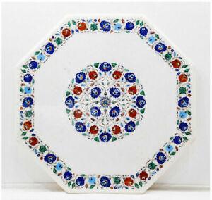 "52"" Marble Dining Table Top Semi Precious Stones Pietradura Inlay work"