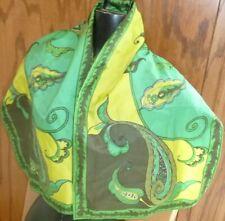 "Vintage abstract Mod paisleys green & yellow Scarf 13"" x 43"""