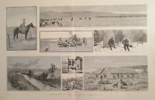 Ranching In The Canadian Northwest, Belly River, Vintage 1886 Antique  Art Print