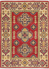 3x5 Hand-Knotted Kazak Carpet Tribal Red Fine Wool Area Rug D57181