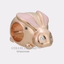 Authentic Pandora Silver ROSE Cute Bunny Pink Enamel CZ Bead 787061EN160