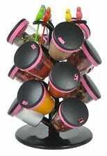 Plastic Revolving Spice Masala Box Rack Set with Fruit Fork 21-Pieces