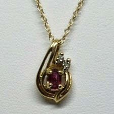 "14k Yellow Gold Natural Ruby And Diamond Pendant With 18"" Chain"