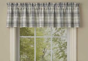"Park Designs SIMPLICITY Plaid Unlined Window Valance 72""x14"" Ivory, Gray"