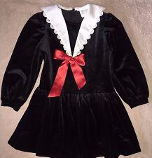 Rare Editions Long Sleeve Holiday Dress Black Velvet White collar 6 EUC Girls