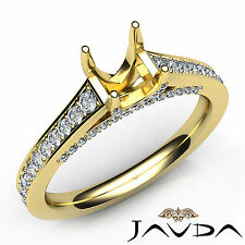 Oval Cut Diamond Semi Mount Engagement Pave Setting Ring 18k Yellow Gold 0.75Ct