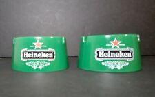 Pair Of Heineken Lager Beer Pub Ashtrays Green Vintage