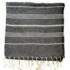 """CACALA 100% Cotton Turkish Towel Beach Spa Cover up Black & White 38"""" x 72"""""""