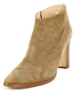 MANOLO BLAHNIK Coffee Brown Suede Almond Toe Heels Ankle Boots 39