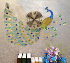 """30""""W Victorian Iridescent Proud Peacock With Colorful Gemstones Train Wall Clock"""