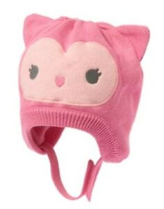 GYMBOREE COZY PALS PINK OWL FACE LINED SWEATER HAT 0 3 NWT