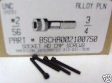 #2-56x3/4 Hex Socket Head Cap Screws Alloy Steel Black (20)