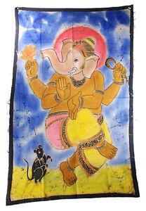 Batik Fatto a Mano Ganesh Elefante 118x 74cm Appeso H