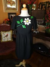 KARTA Stunning Jewel Embellished Black Babydoll  Dress Size Small