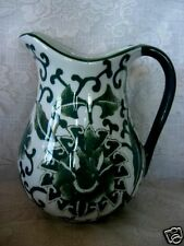 Collectible Large Quality Sage Green Leaves Ceramic Vase / Water Pitcher - New