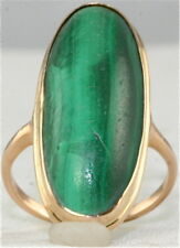 ANTIQUE 14K GOLD TALL MALACHITE RING SIZE 5