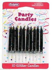 Pack of 10 Black Glitter Cake Candles with holders Birthday Decorations