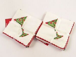 Pier 1 Embroidered Christmas Holiday Cocktail Napkins 2 sets w/Tags G012