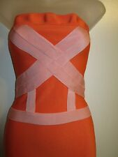 bebe M Dress Bandage Bodycon Strapless Colorblock Bright Orange Pink Cocktail