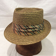 Green Brown Straw Hat with Brown, Green & Gold Band -- Size 7 1/4