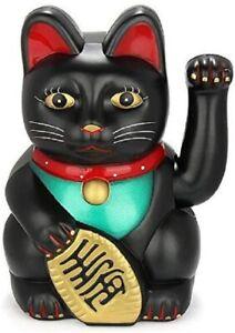 Feng Shui  BECKONING CAT Wealth Lucky Waving Kitty Maneki Neko BLACK 6 inch
