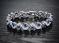 18K 18ct White gold GF Lab Diamond Accent & Sapphire Tennis Soild bracelet 6.7'