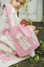 Baby Blanket Quilt Swaddle 90x130cm Girl Boy Kids Cozy Soft Warm 100% Wool Bear