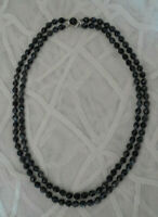 Antique Vintage Black Jet Double Strand Beaded French Mourning Necklace  J