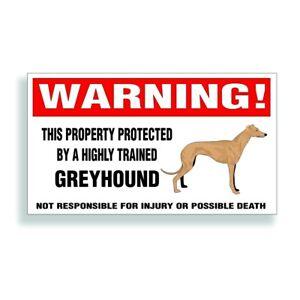 Warning DECAL trained GREYHOUND English racing dog bumper or window sticker